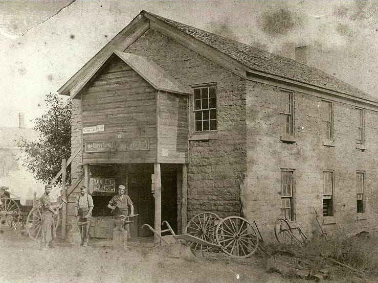 Back in the day, the building housing Franklin Grove Etc. was a blacksmith shop.