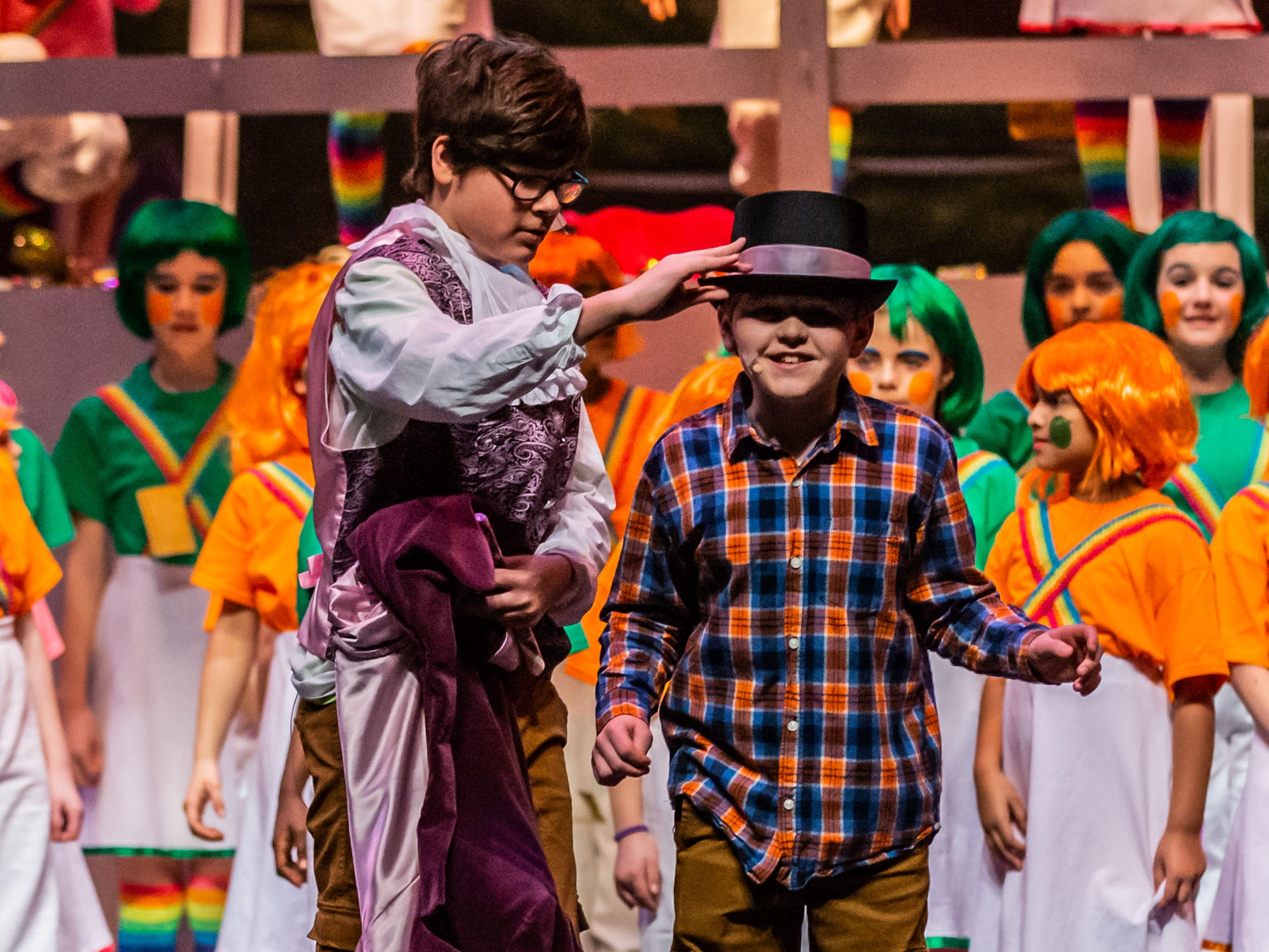 Brookfield Elementary students, Aidan Riddle (left) and Michael Foster, portray Willy Wonka and Charlie Bucket in a scene from Roald Dahl's Willy Wonka Jr. during rehearsal at the Sharon Lynne Wilson Center for the Arts in Brookfield on Saturday, March 2, 2019. Public performances are at 7 p.m. on March 2 and 2 p.m. on March 3.