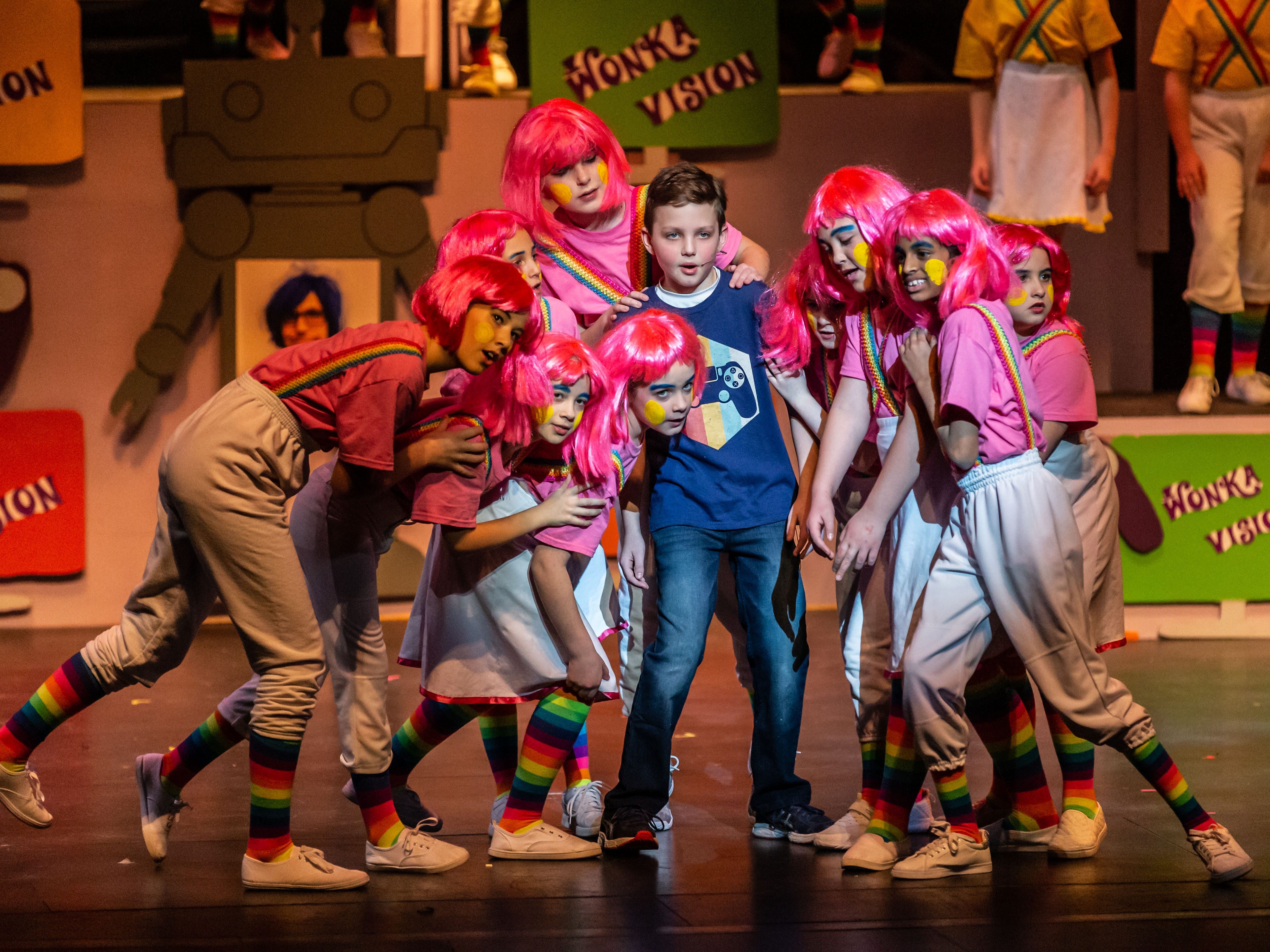 Brookfield Elementary fourth grader, Jacob Brunner, portrays Mike Teavee in a scene from Roald Dahl's Willy Wonka Jr. during rehearsal at the Sharon Lynne Wilson Center for the Arts in Brookfield on Saturday, March 2, 2019. Public performances are at 7 p.m. on March 2 and 2 p.m. on March 3.