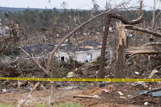 Tornado damage near Beauregard, Ala., on Monday March 4, 2019. The fatal storm stuck on Sunday afternoon.