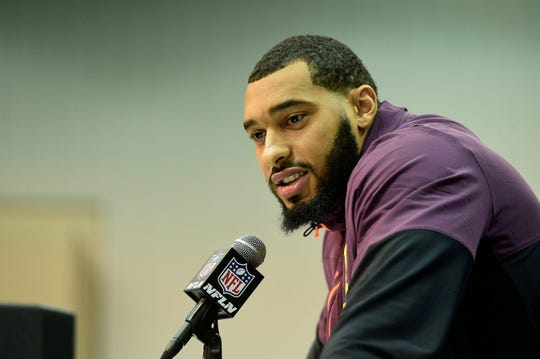 Mar 2, 2019; Indianapolis, IN, USA; Mississippi State defensive lineman Montez Sweat (DL51) Talks to the media during the 2019 NFL Combine at the Indianapolis Convention Center . Mandatory Credit: Thomas J. Russo-USA TODAY Sports