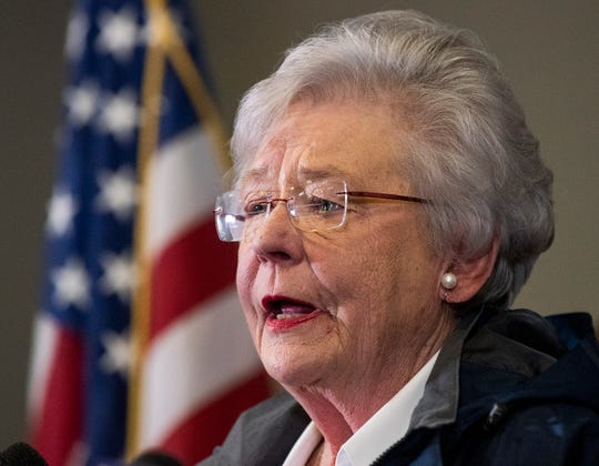 Alabama Governor Kay Ivey speaks during an afternoon press briefing on the tornado damage near Beauregard, Ala., on Monday March 4, 2019. The fatal storm stuck on Sunday afternoon.