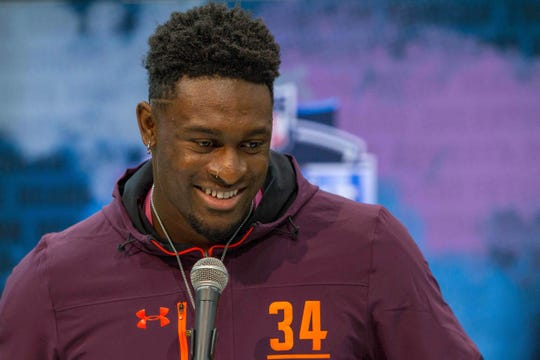 Mar 1, 2019; Indianapolis, IN, USA; Mississippi wide receiver D K Metcalf (WO34) speaks to media during the 2019 NFL Combine at the Indiana Convention Center. Mandatory Credit: Trevor Ruszkowski-USA TODAY Sports