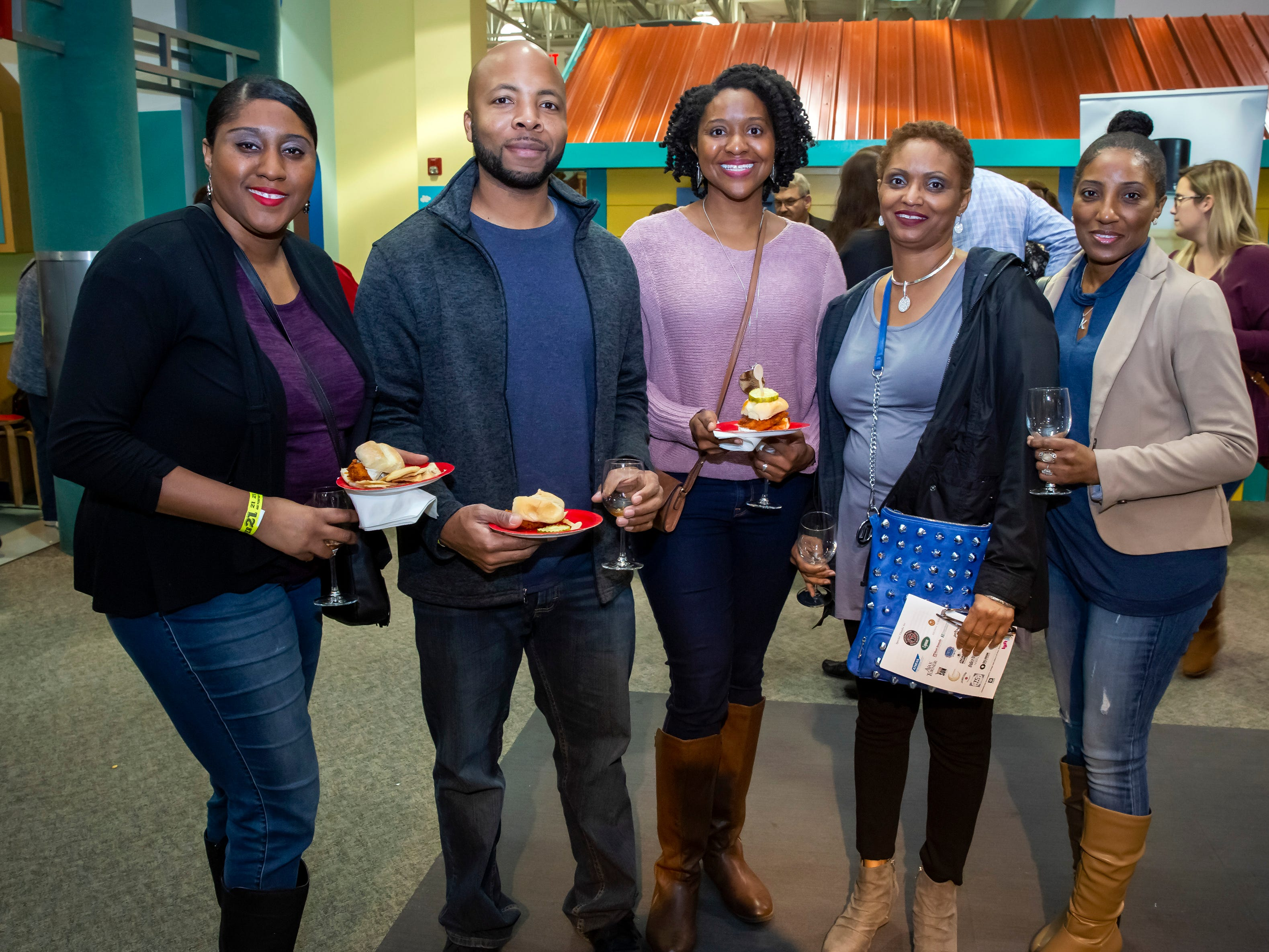 Kay Williams, Anthony McAdoo, Denise Holman, Z. Phillips and T. Johnson at the 6th annual Wine and Whiskey at the Wetlands event held at the Discovery Center.