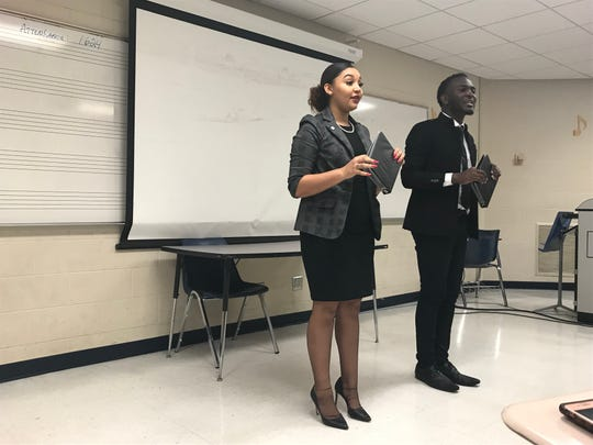 Texas Southern University team members Kiara Chatman and Durmerick Ross compete at the HBCU Speech and Debate Association national tournament at TSU.