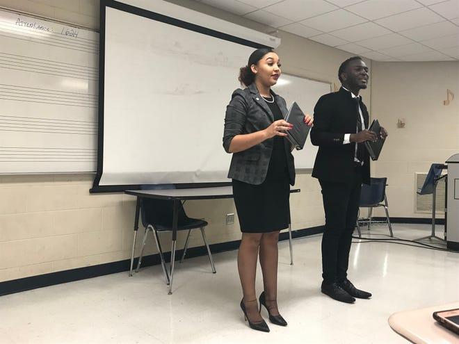 Texas Southern University team members Kiara Chatman and Durmerick Ross compete at the HBCU Speech and Debate Association national tournament at TSU.