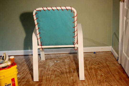 Beverly Swisshelm, of Hermitage,  creatively refurbished her patio chairs.