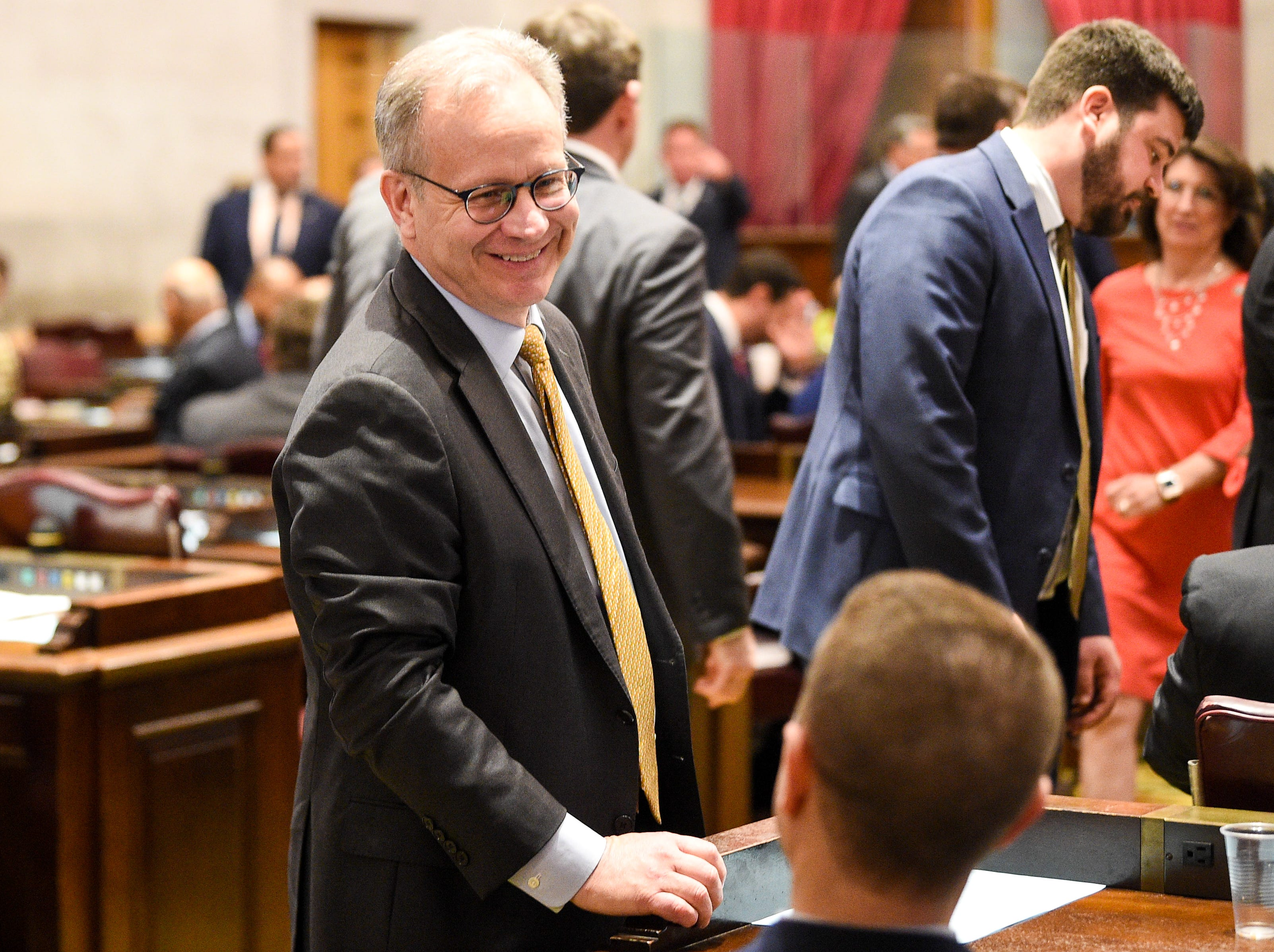 Nashville Mayor David Briley arrives to hear Gov. Bill Lee give his first State of the State address before a joint session of the Tennessee General Assembly inside the House chambers at the state Capitol in Nashville on Monday, March 4, 2019.
