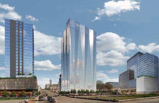 Brentwood-based GBT Realty produced this rendering of its plans for a tower at the former Firestone site at 1221 Broadway.