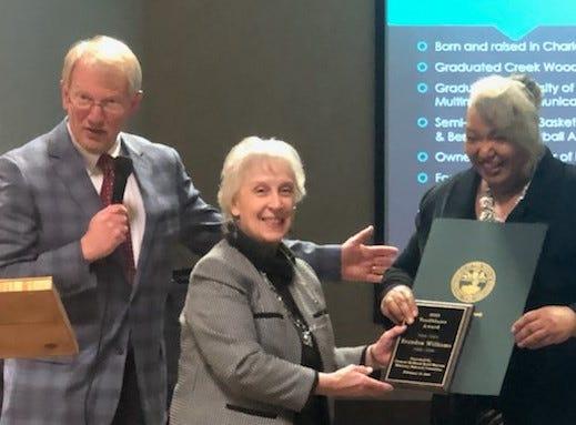Brandon Williams's mother accepting his Trailblazer Award.