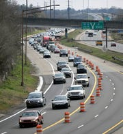Traffic backs up as a project begins on Interstate 440 in Nashville earlier this year.