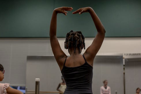 Nasha Theresies practices positions on a ballet barre at a class instructed by Marianne Lorusso at Eagle Lakes Community Park in Naples on February 21, 2019.
