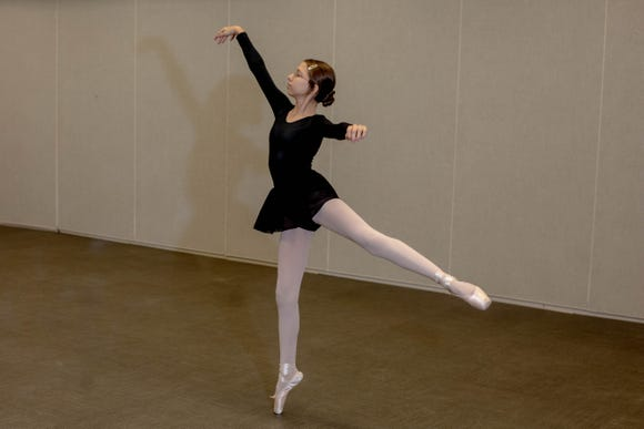 Ella practices a pointe routine during her ballet class instructed by Marianne Lorusso at Eagle Lakes Community Park in Naples on February 21, 2019. The group is preparing for a recitial, where they will each perform solo routine.