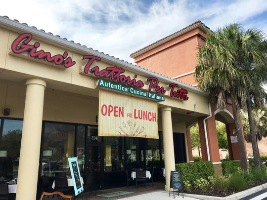 Gino's Trattoria Per Tutti is now open for lunch under the new ownership of Anita Alvares and Anthony Delphin at Pebblebrooke Center in North Naples.