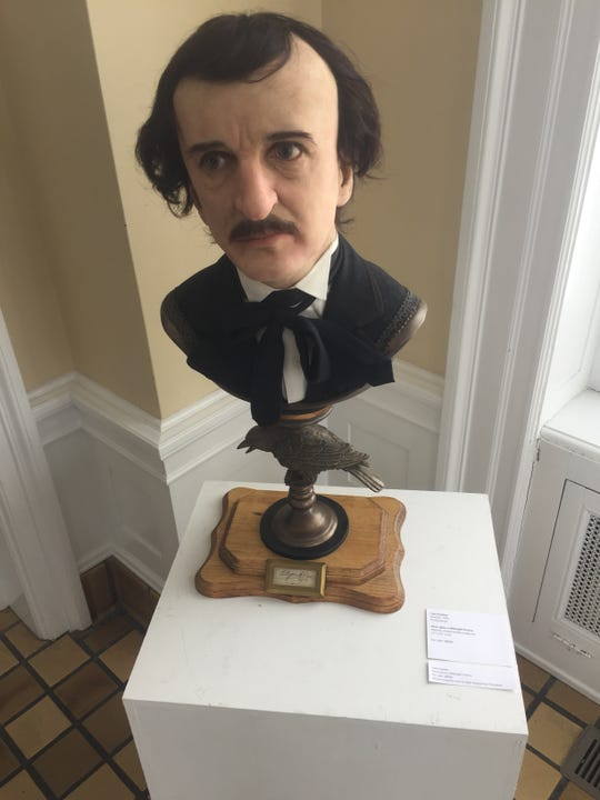 """This Edgar Alan Poe-centric work, """"Once Upon A Midnight Dreary,"""" by Newark artist Tom Kuebler is among the works on display at Bryn Du for the next several weeks."""