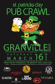 The image that will adorn the T-shirts associated with this year's Granville Pub Crawl. Proceeds from shirt sales benefit the Granville Schools Land Lab.