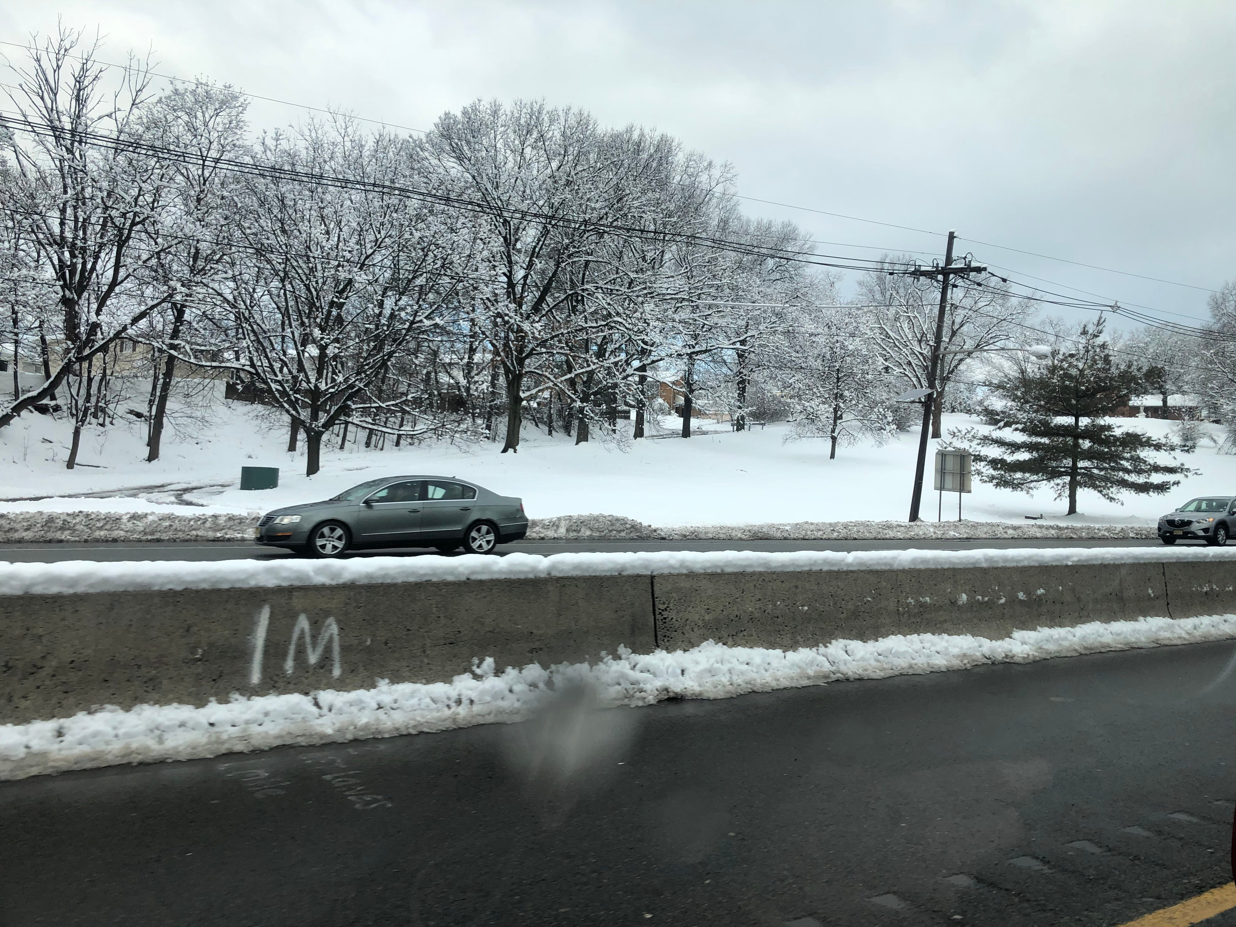 The roads were clear on Route 3 by 9 a.m. on Monday.