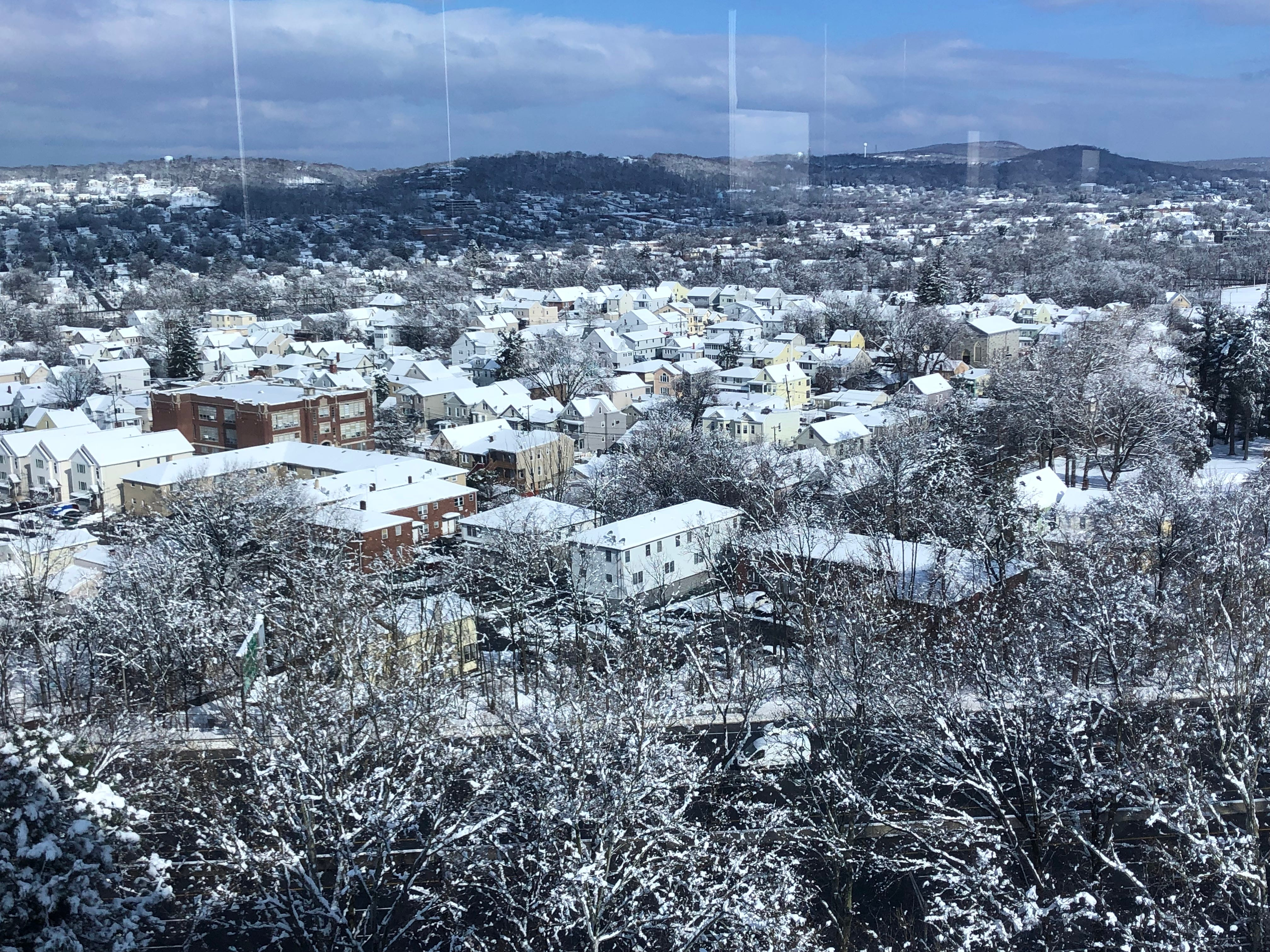 Snowy rooftops in Paterson.