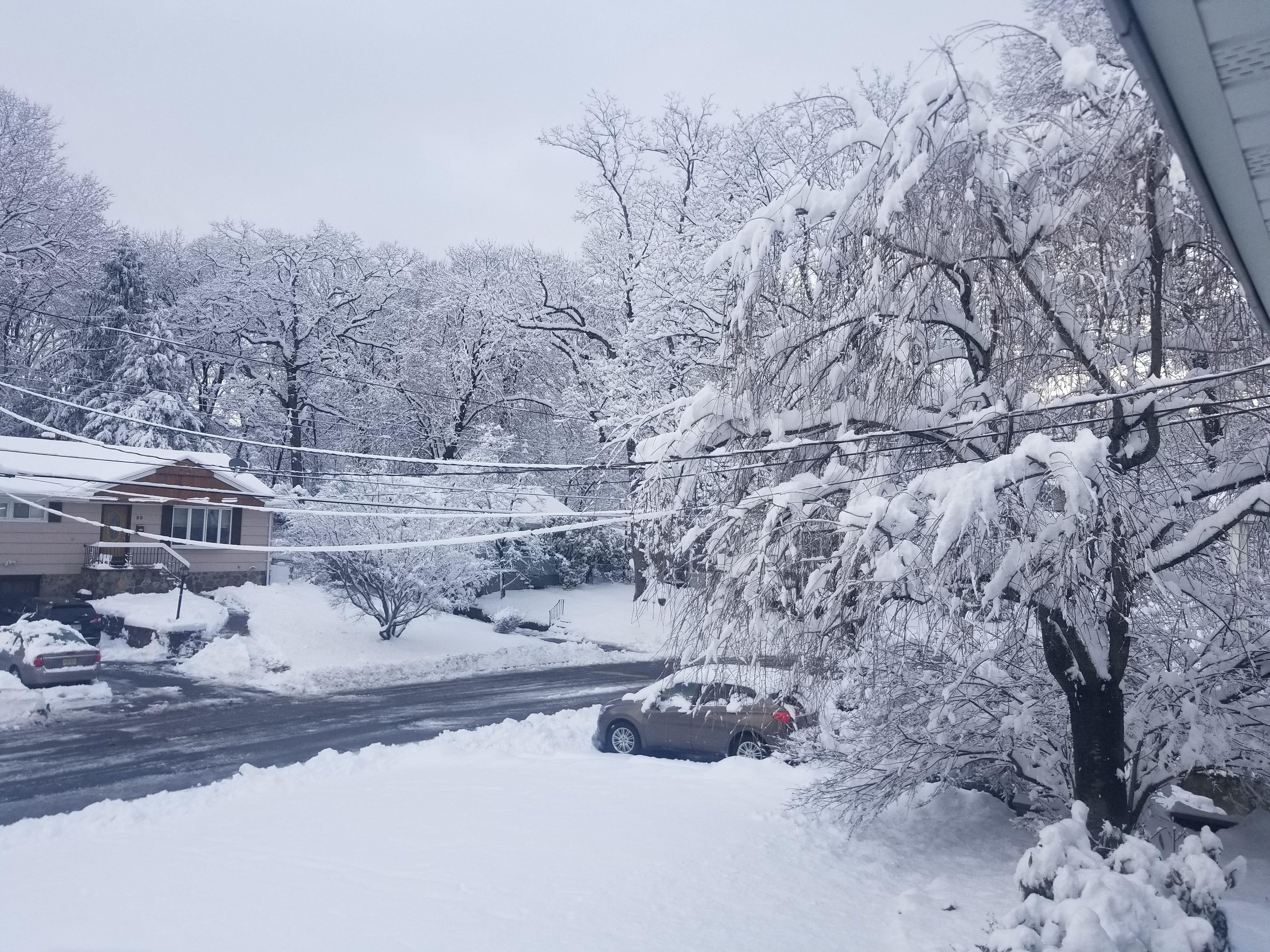 Cedar Grove residents wake up to snow along Winding Way in Cedar Grove.