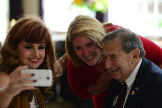 Assemblywoman Holly Schepisi, center, enjoying a selfie with Judith Joan Sullivan and state Sen. Gerald Cardinale at a campaign fundraiser in September 2015.