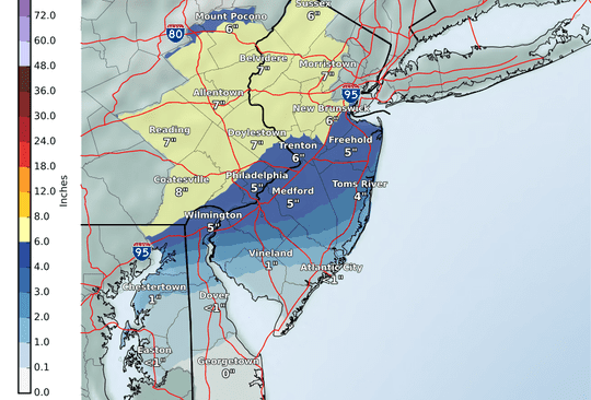 Map of expected snow totals from the National Weather Service.