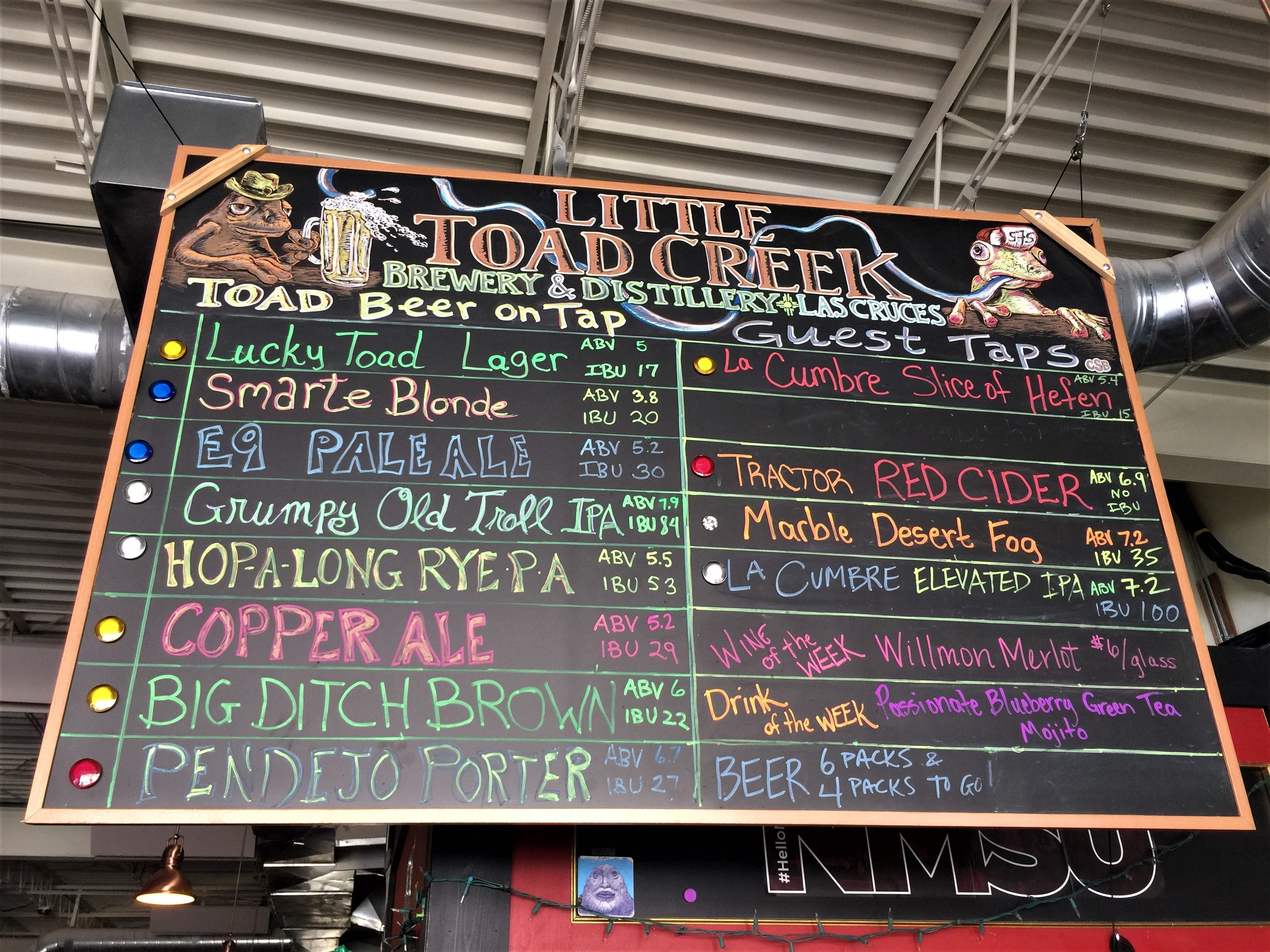Little Toad Creek Brewery & Distillery's colorful and quirky beer tap menu.