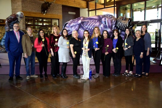 Las Cruces Public Schools Superintendent Greg Ewing, left, and members of the LCPS Board of Education pose with LCPS Teacher of the Year semifinalists on Tuesday, Feb. 27, 2019 at the New Mexico Farm & Ranch Heritage Museum.