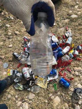 A used syringe and water bottle found during the March 2 Riverblitz in Carlsbad.