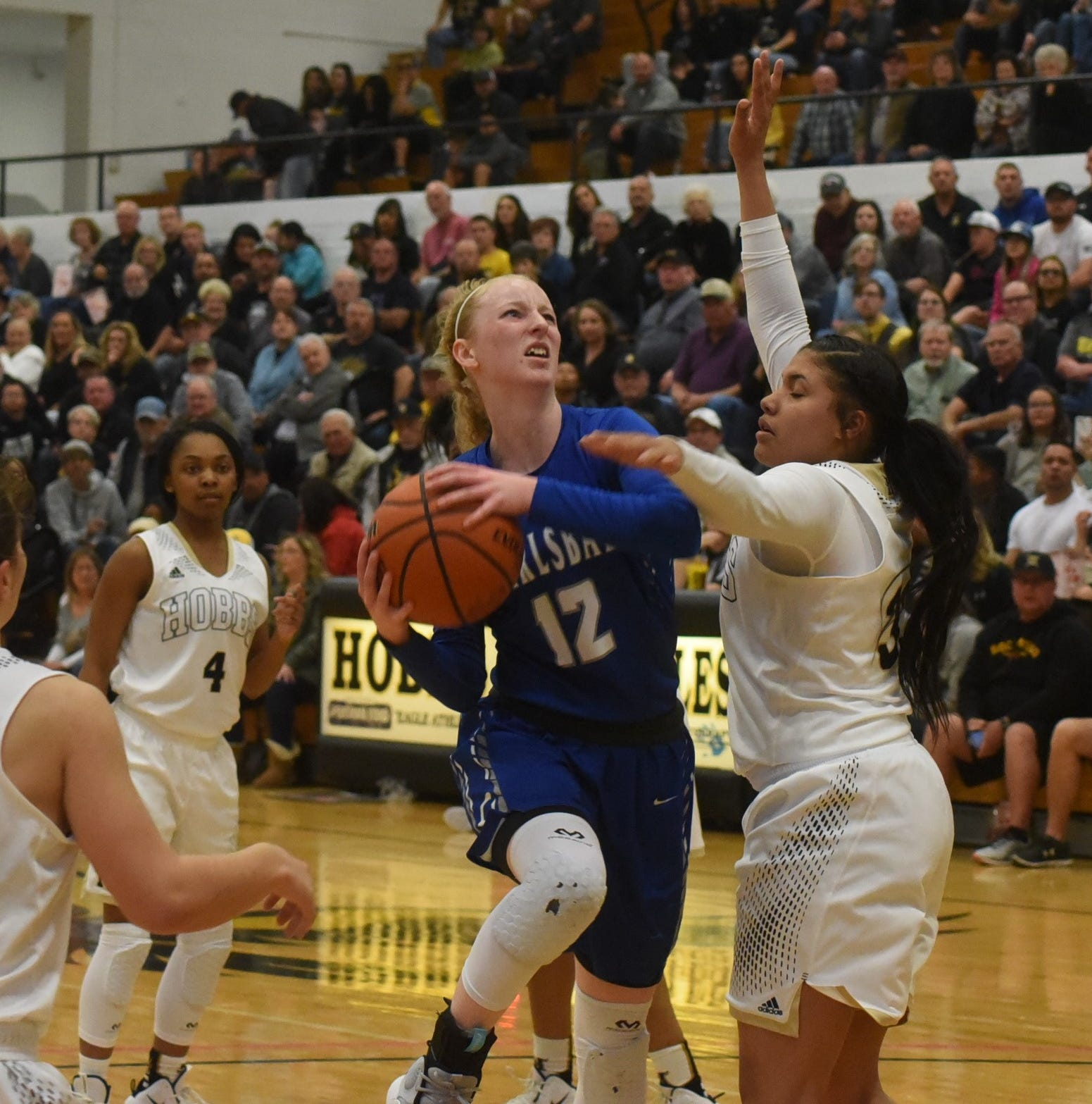 Carson Boswell drives into the paint and is fouled by Hobbs Mariah Jennings in the third quarter of Saturday's Class 4-5A district championship game.