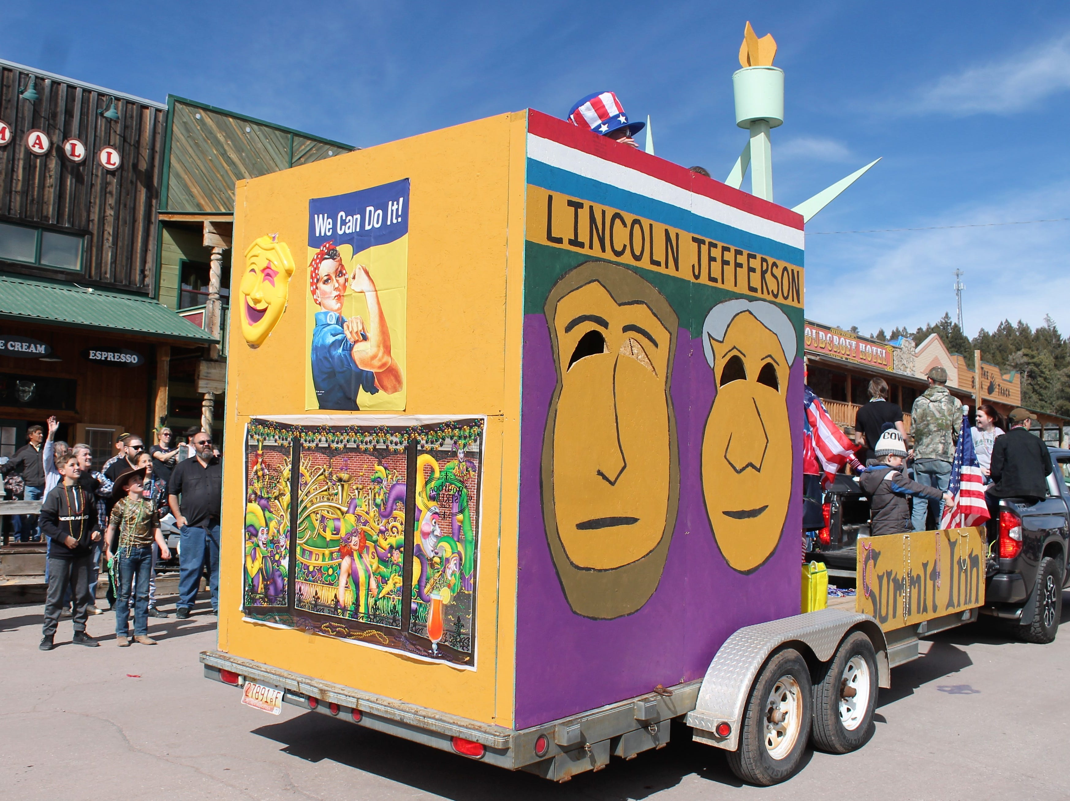 The Summit Inn's float at the Mardi Gras Parade in Cloudcroft Saturday.
