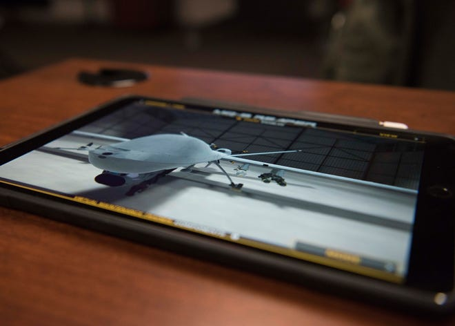 A MQ-9 Reaper is displayed on a 16th Training Squadron Electronic Training Device prototype, Feb. 8, 2019, on Holloman Air Force Base, N.M. The 16th TRS, here, is conducting a MQ-9 Formal Training Unit Innovation project, with the goal of supplementing bulky laptops with tablets that can be used by students in the classroom and in their dorm.