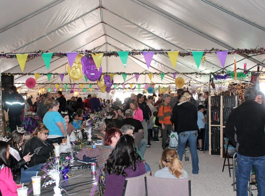 Inside the main tent at Mardi Gras in the Clouds Saturday afternoon, March 2.
