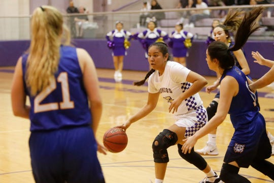 Kirtland Central's Aubrey Thomas dribbles toward the right side against Bloomfield during Wednesday's District 1-4A tournament semifinals at Bronco Arena in Kirtland. KC earned the No. 1 seed in the 4A state playoffs.