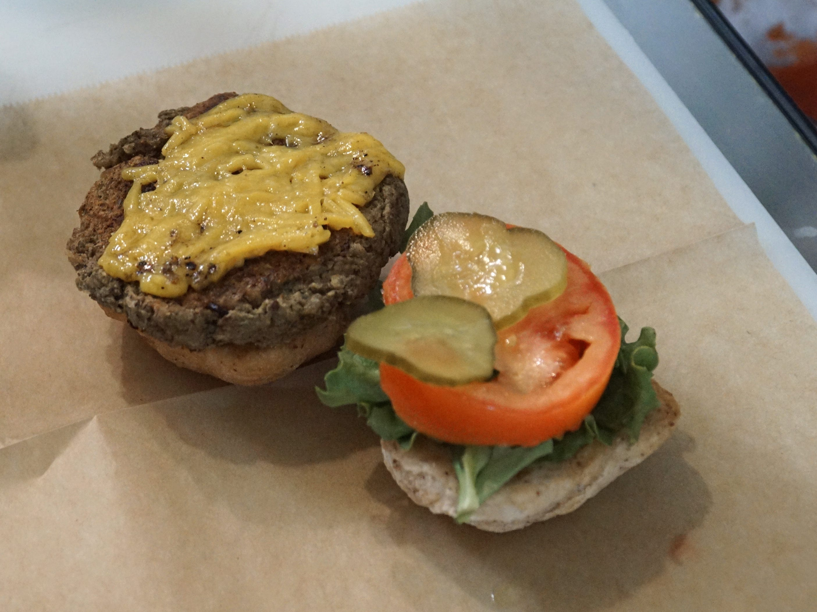 A classic Shimmy Shack vegan burger just off the grill.