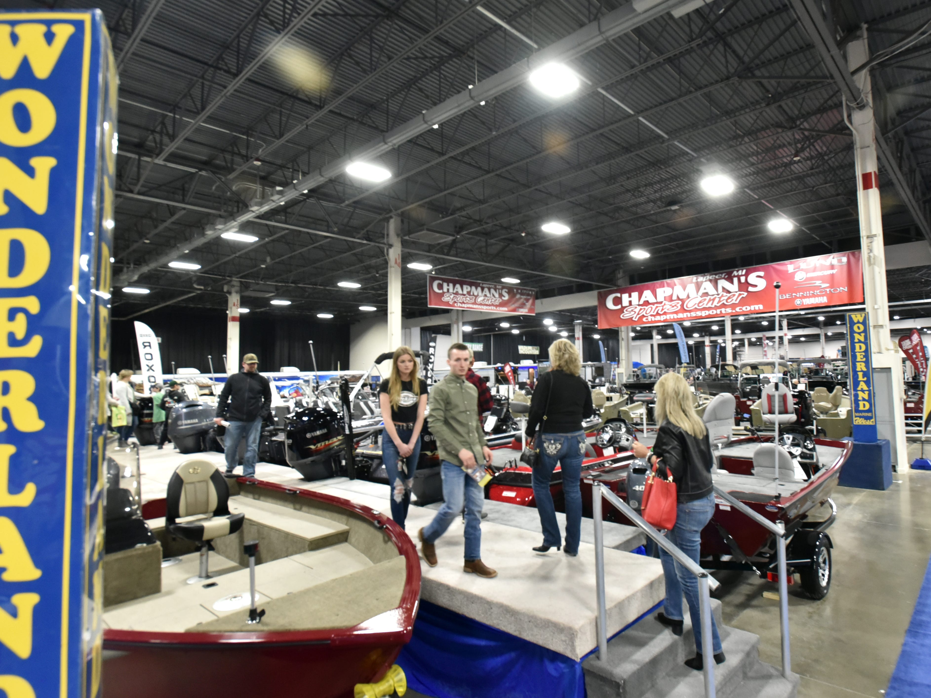Marine retailers had acres of boats and docks for attendees of the Outdoorama to check out.