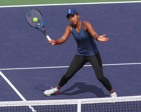 Naomi Osaka practices at the BNP Paribas Open, March 4, 2019.