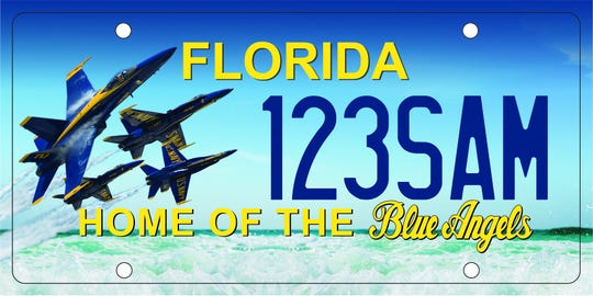 The proposed design of a new Florida license plate honoring the Blue Angels.