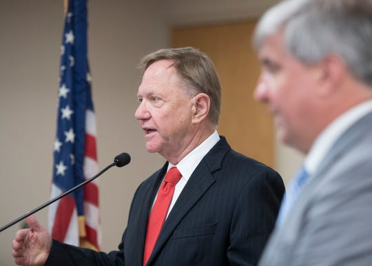 Quint Studer, chairman of the Pensacola Mayoral Transition Team, speaks Monday about the team's report that lays out 55 recommendations for the city.