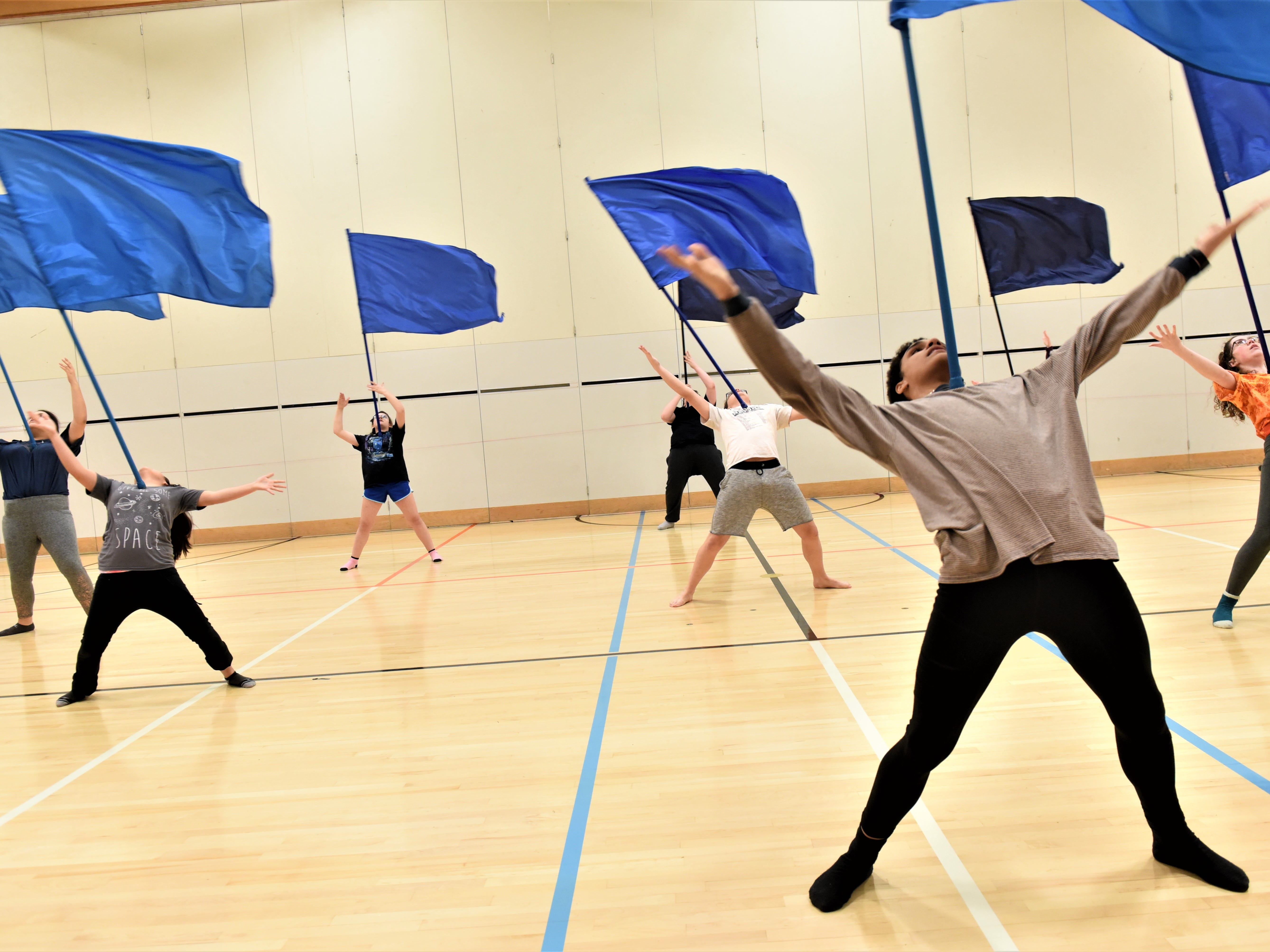 Hanover Senior High School color guard team practices their routine on March 4, 2019.