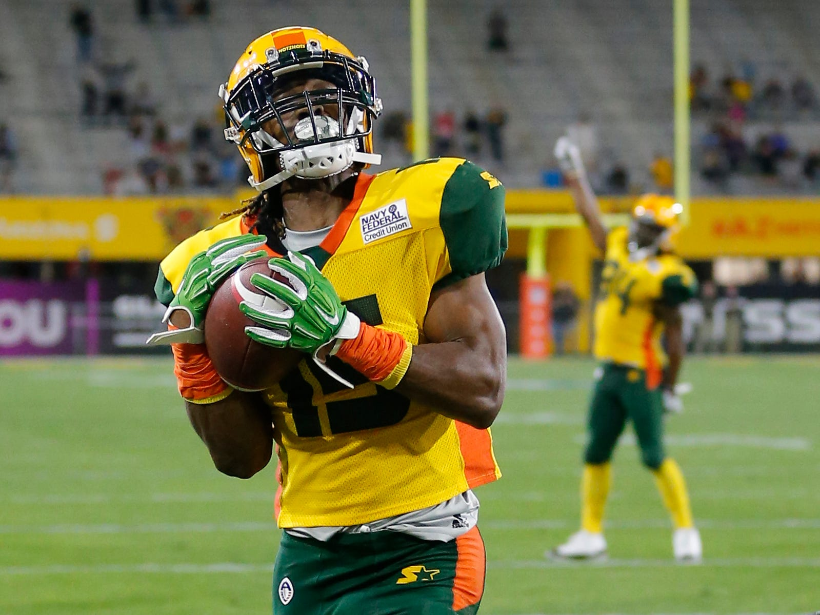 Arizona Hotshots wide receiver Rashad Ross (15) catches a touchdown against the Atlanta Legends in the second half during an AAF football game, Sunday, March 3, 2019, at Sun Devil Stadium in Phoenix.