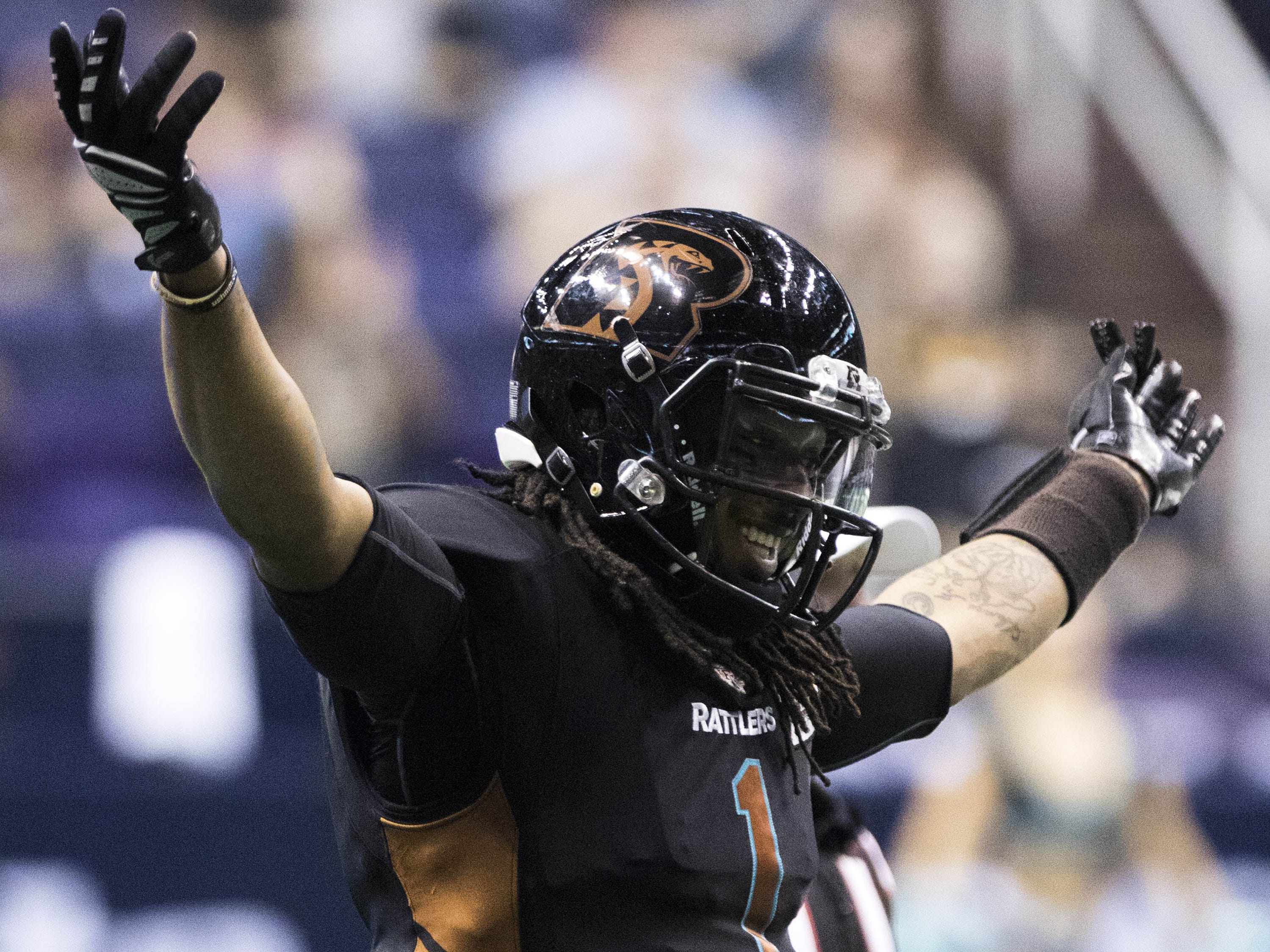 Arizona Rattlers Verlon Reed Jr.(1) celebrates against Cedar Rapids River Kings during their game at Talking Stick Resort Arena in Phoenix, Sunday, March 3, 2019.