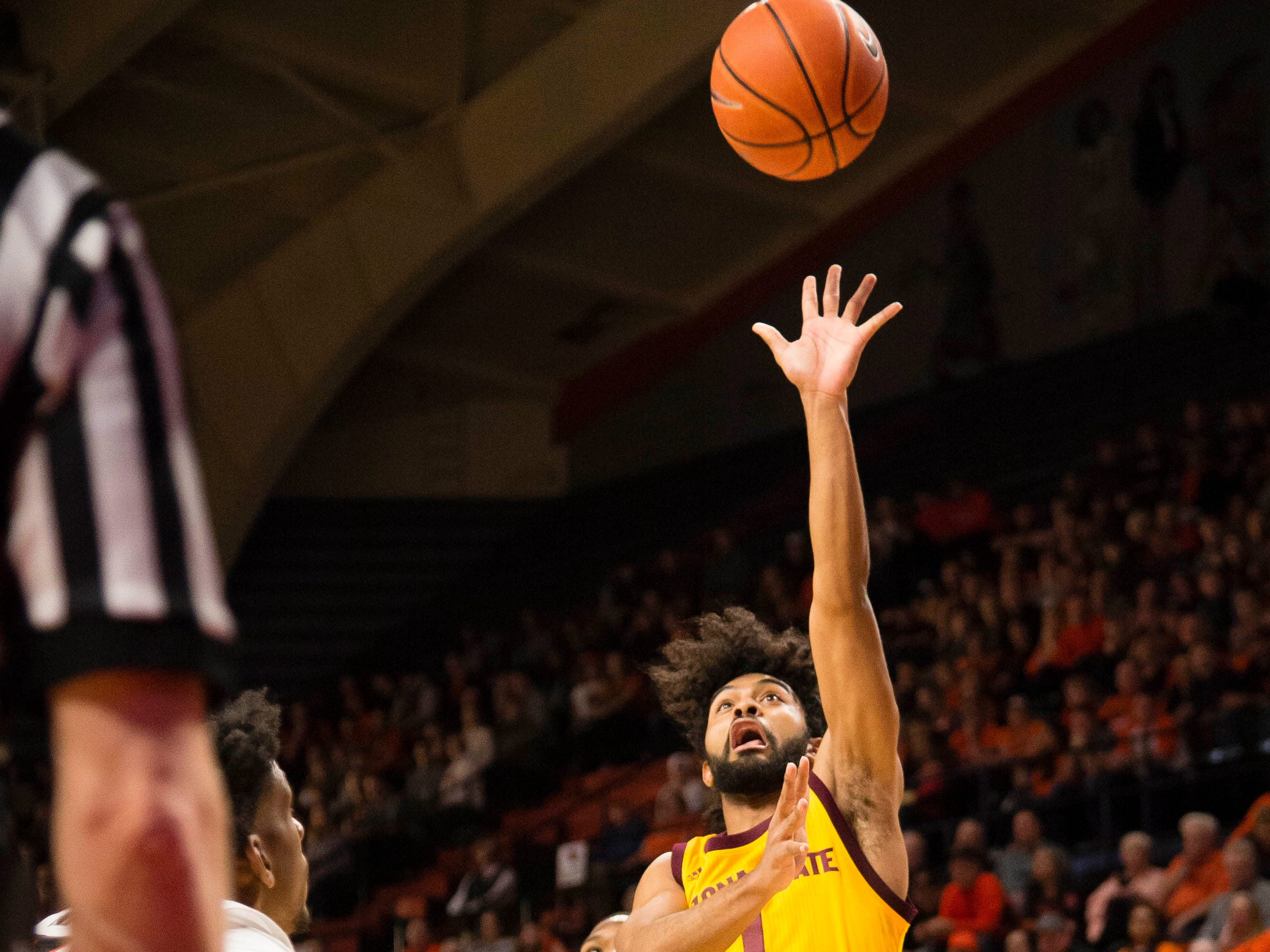 Mar 3, 2019; Corvallis, OR, USA; Arizona State Sun Devils guard Remy Martin (1) shoots the ball during the first half against then Oregon State Beavers at Gill Coliseum.