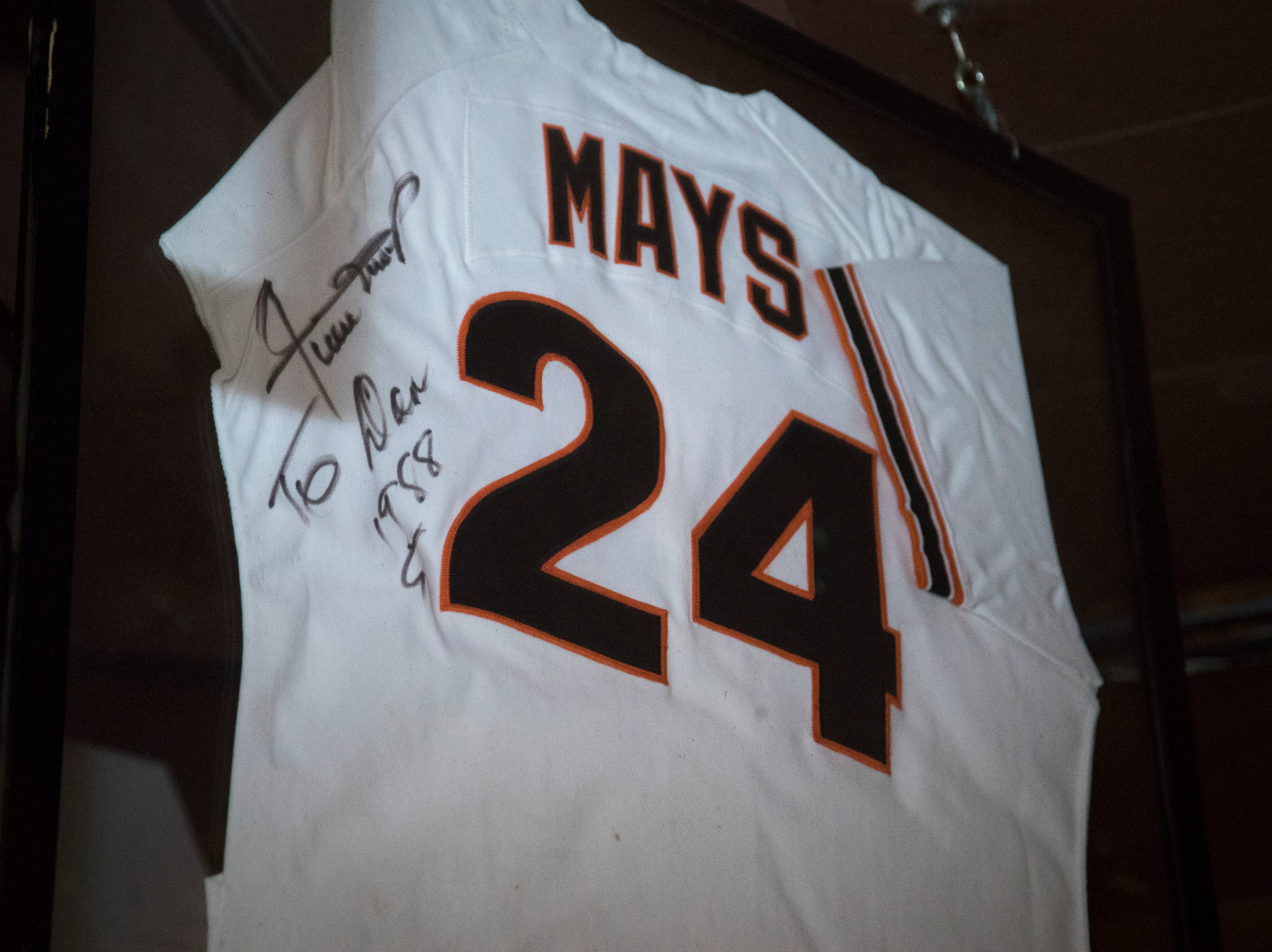 Willie Mays' jersey is seen Feb. 27, 2019, at Don & Charlie's, 7501 E. Camelback Road, Scottsdale.