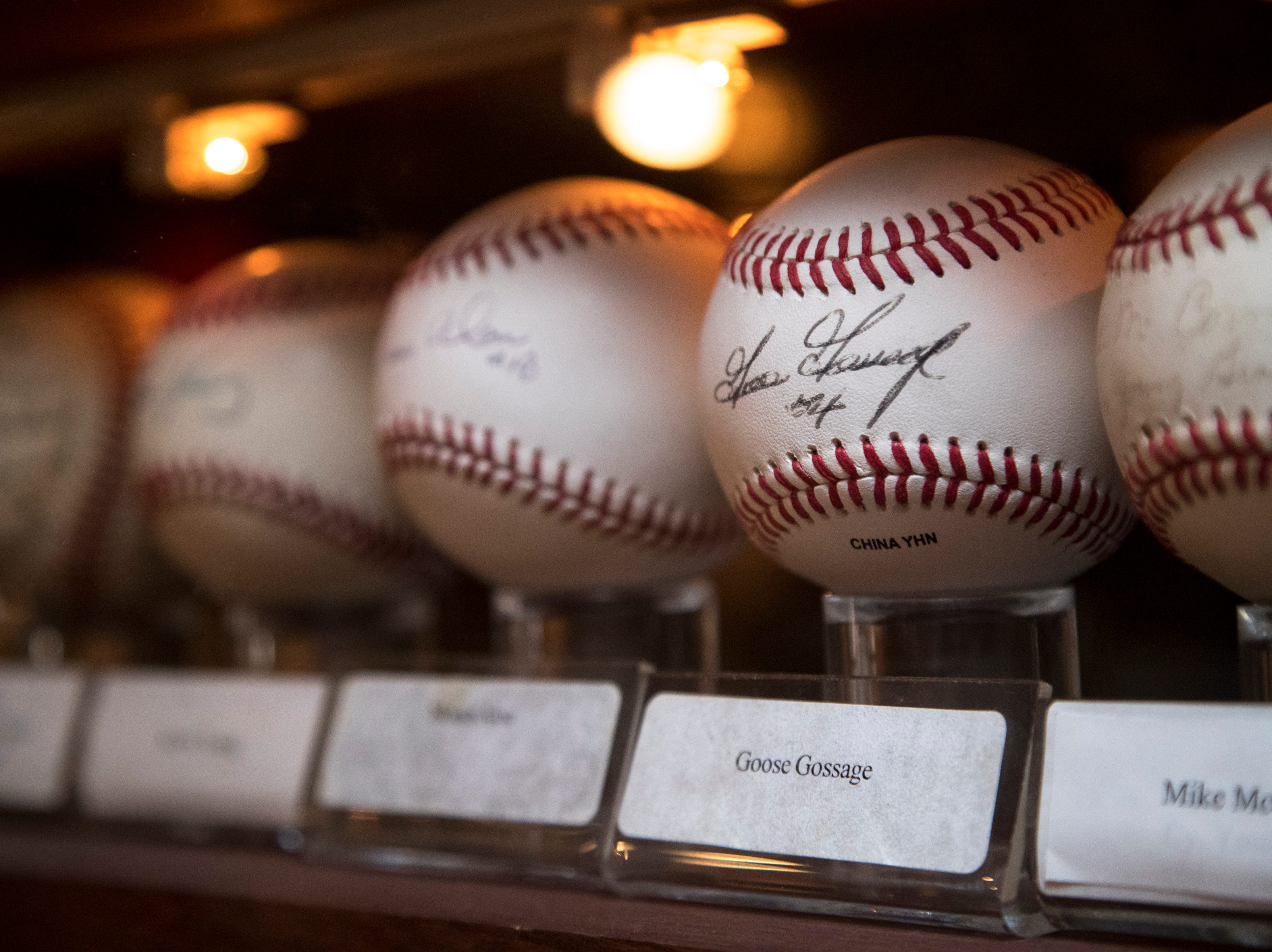 A baseball signed by Goose Gossage is seen Feb. 27, 2019, at Don & Charlie's, 7501 E. Camelback Road, Scottsdale.