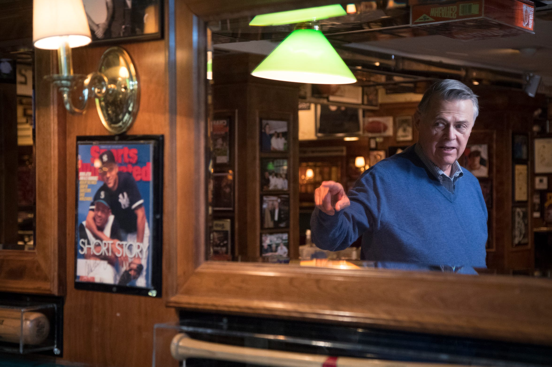"""Don Carson talks about the """"Sports Illustrated"""" cover signed by Derek Jeter and Alex Rodriguez, on Feb. 27, 2019, at Don & Charlie's, 7501 E. Camelback Road, Scottsdale."""