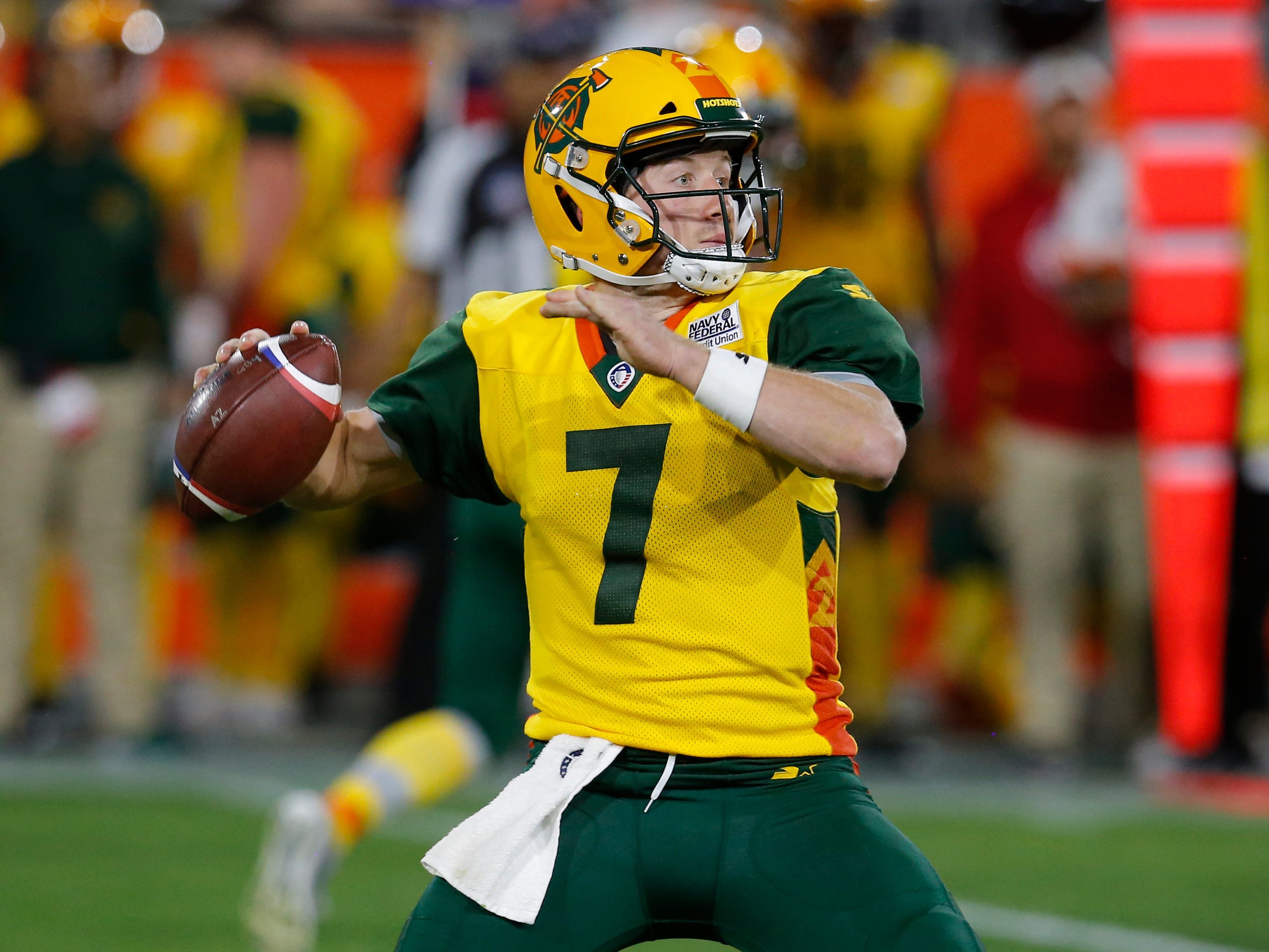 Arizona Hotshots quarterback John Wolford (7) throws downfield against the Atlanta Legends in the second half during an AAF football game, Sunday, March 3, 2019, at Sun Devil Stadium in Phoenix.