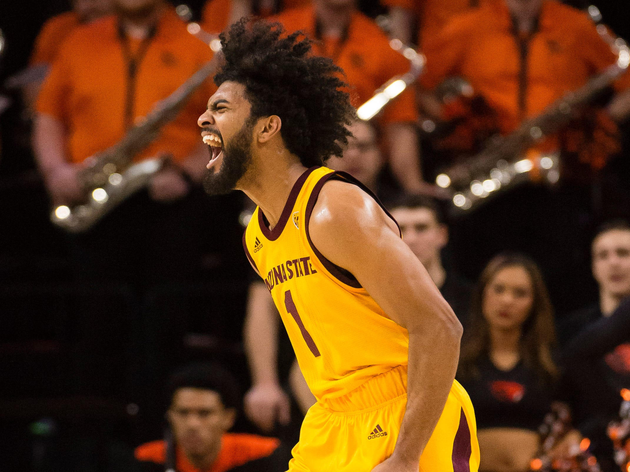Mar 3, 2019; Corvallis, OR, USA; Arizona State Sun Devils guard Remy Martin (1) reacts after an Oregon State Beavers is called for an offensive foul during the first half at Gill Coliseum.