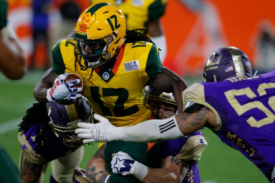 Deion Holliman (12) signed with the AAF's Arizona Hotshots and immediately became the team's punt returner.The league ceased operating in April 2019.