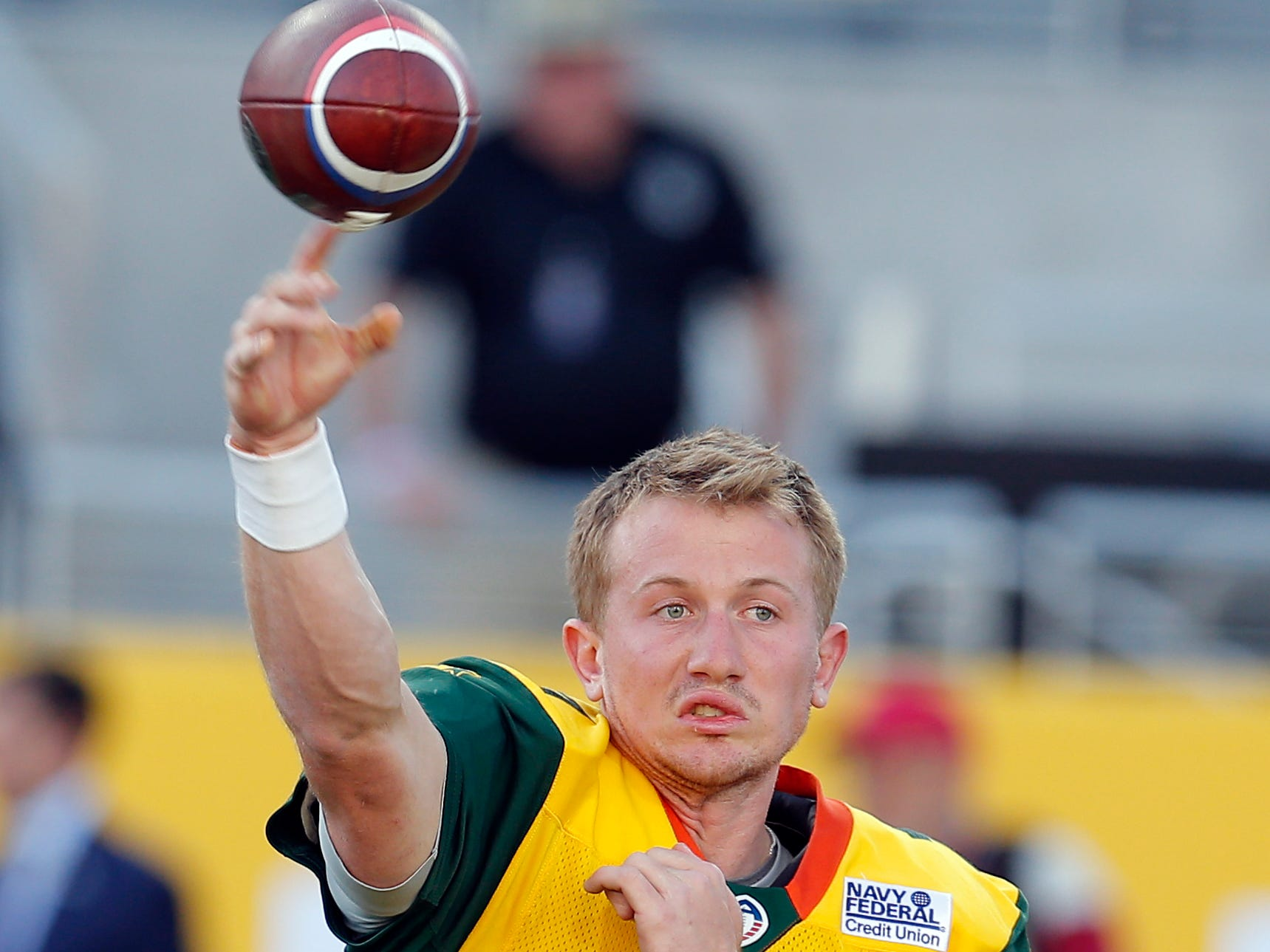 Arizona Hotshots quarterback John Wolford (7) warms up before an AAF football game against the Atlanta Legends, Sunday, March 3, 2019, at Sun Devil Stadium in Phoenix.