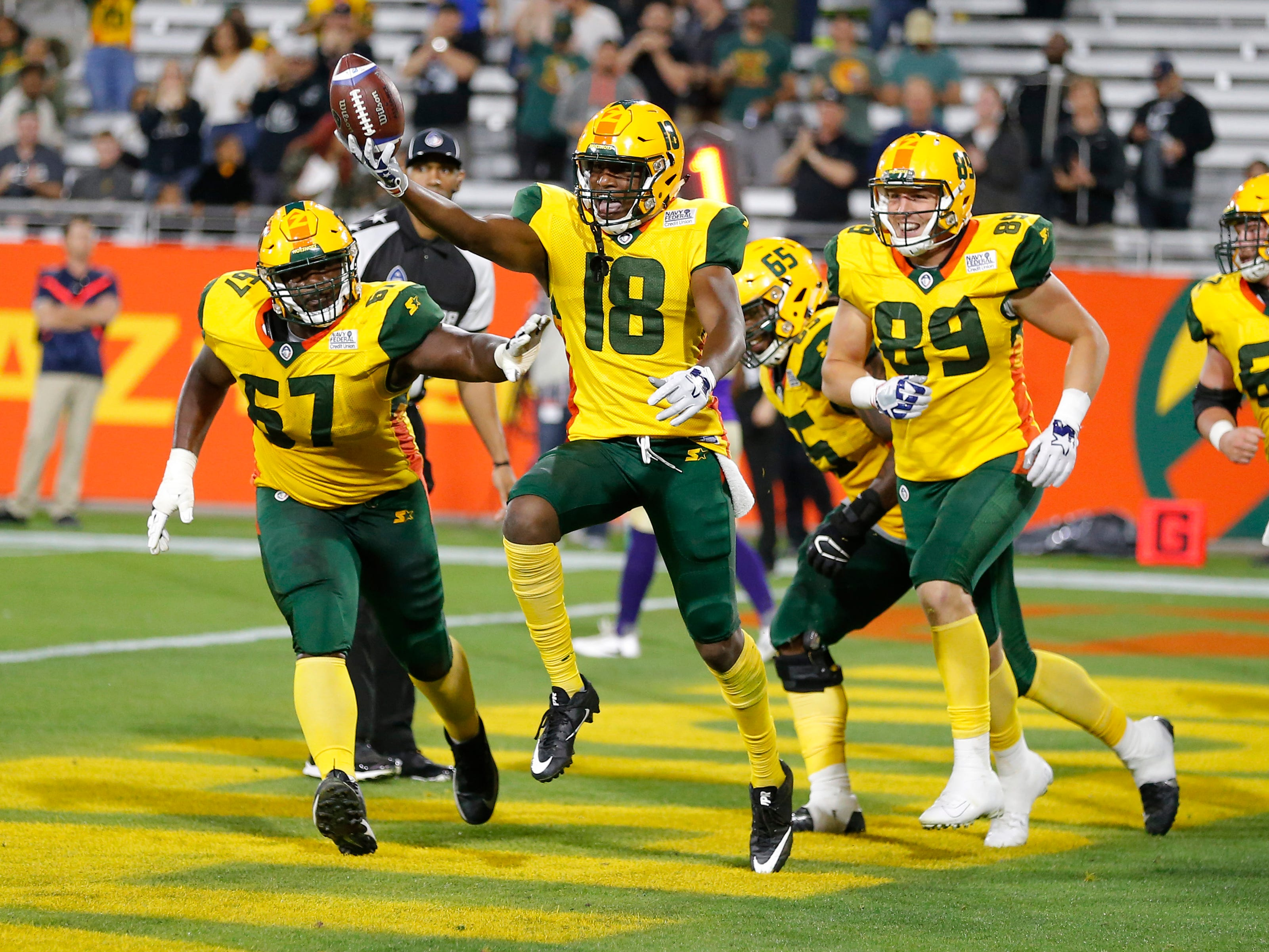 Arizona Hotshots wide receiver Marquis Bundy (18) celebrates after scoring a two point conversion in the second half during an AAF football game against the Atlanta Legends, Sunday, March 3, 2019, at Sun Devil Stadium in Phoenix.